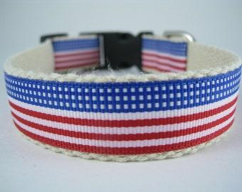 Hemp dog collar - Stars and Stripes Forever American Flag