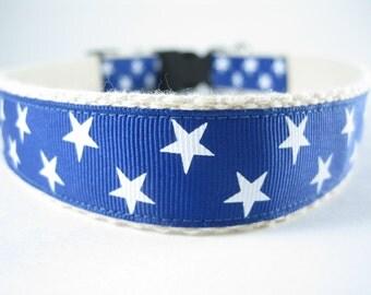 Hemp dog collar - Blue Stars Patriotic