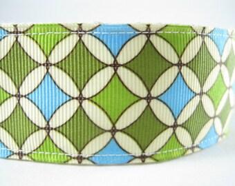 Blue and Green Circles and Diamonds extra large hemp dog collar