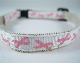 "Breast Cancer Pink Ribbon - Organic Cotton 1/2"" collar"