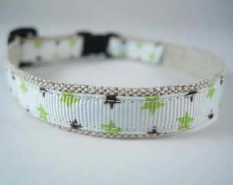 "Green and Brown Stars organic cotton 1/2"" collar"