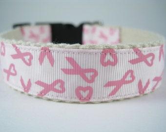 Hemp dog collar - Breast Cancer Awareness Hearts