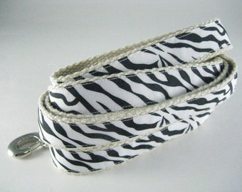 Zebra Stripe animal print. hemp dog leash