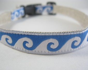 Hemp Dog Collar - Blue Ocean Waves - 3/4in
