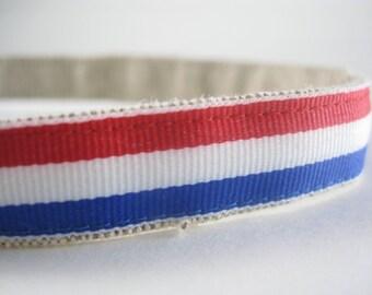 Hemp Dog Collar - Red White Blue - 3/4in