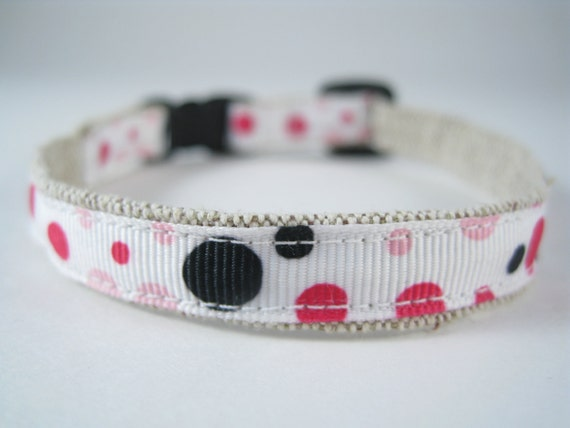 """Black Pink and Red Bubbles organic cotton 1/2"""" collar"""