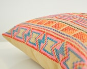 Hand- stitched geometric details tribal cotton pillow cover in beige