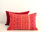 13 x 20 Hand stitched tribal cotton pillow cover in punch red