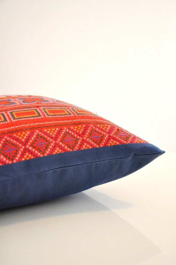 Anya red with deep blue trim Hmong tribal hand- stitched cotton pillow cover.