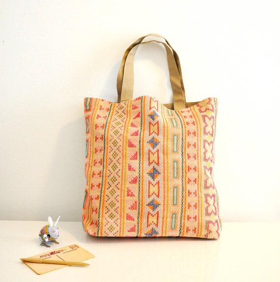 Hand stitched Hmong tribal tote in light beige