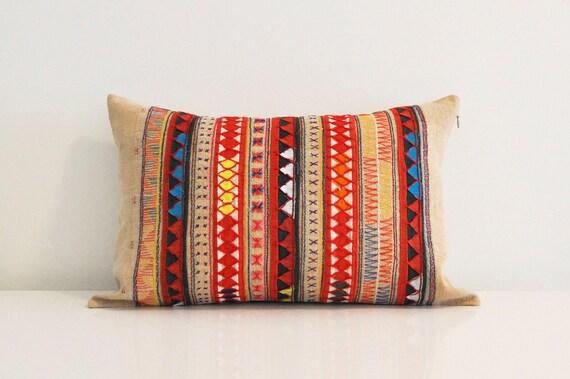 Beige Lanna Hmong tribal pillow cover 13x 20