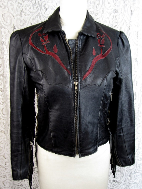 Vintage Black Leather Jacket with Braided Fringe Laced Conch Side Seams and Red Applique Leather