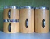 Vintage Kromex Canister Set - Faux Wood Grain