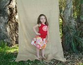 Retro Floral Print Flowy Summer Skirt Set Size 2T- Size 6