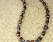 Wood and Fresh Water Pearls Necklace
