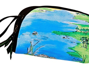 SALE PRICE is 50% Off Original; Clutch & Cosmetic Bag, Art Bag, Eco Friendly Bag, Lake