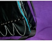 Black and Blue - Faux-Leather Messenger Bag with Grommet and Chains - Vegan Friendly