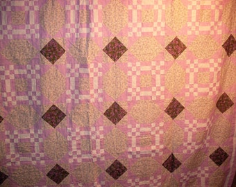 Free Shipping! Missouri Puzzle Quilt Top and backing  Lavender  91 x 105
