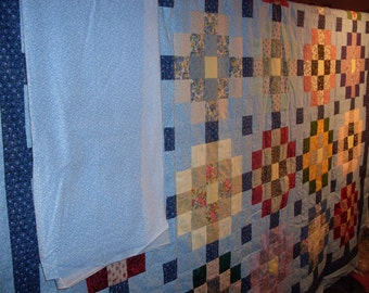 Free Shipping! Sisters Squares Quilt Top and Backing, Blue 91x108