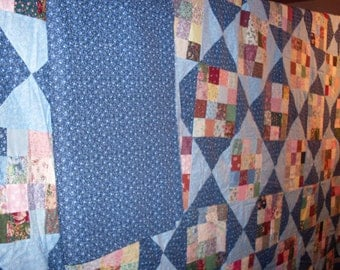 Free Shipping!  Sixteen Patch Quilt Top and Backing 89x105 Blue