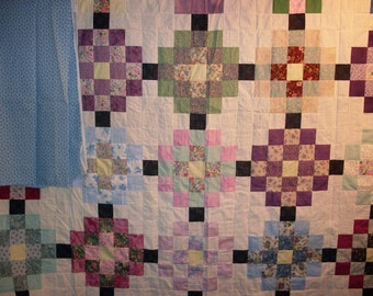 Free Shipping! Sisters Square Quilt Top and Backing 90x106 Blue, Multicolored