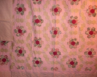 Free Shipping!  Grandmother's Flower Garden Quilt Top and Backing 93x107 Rose, Burgundy