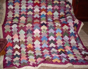 Free Shipping!  Points of Interest  Dark Burgundy and Multicolored Quilt Top, Backing and Binding 90 x 106
