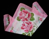 VINTAGE HANKIE, Large Pink Roses, From The Fifties, Gorgeous.