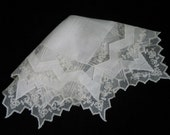 WEDDING HANKIE, Gorgeous Vintage, Madeira Lace, White Linen, Very Victorian And Elegant.