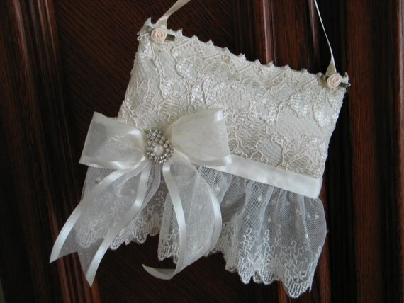 """SACHET PILLOW, """"Lilly Of The Valley""""Sachet, Antique Rhinestone Earring, Ivory Wedding Lace, Home or Bridal, Gorgeous."""