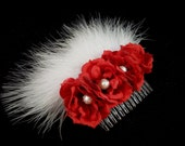 Bridal Red Roses Hair Comb with Swarovski Pearls and Feathers