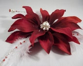 Dark Red / Burgundy Hair Flower Clip / Bobby Pin / Comb with WIrewrapped Swarovski Pearls and Feathers