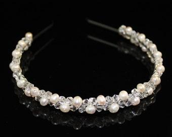 Freshwater Pearl and Crystal Bridal Tiara / Headband, Wedding Tiara Headpiece, Pearls Tiara, Wedding Hair Accessories, Bridal Hair Pearls