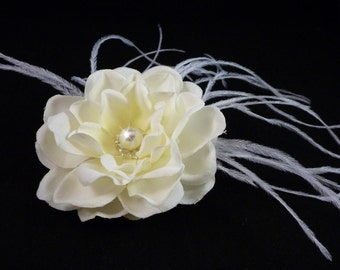 IVORY Gardenia Hair Flower Bobby Pin / Clip / Comb with Ostrich Feathers