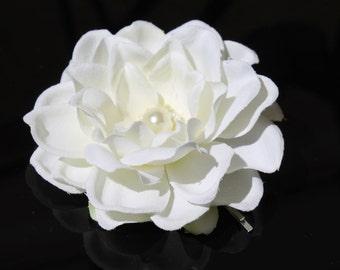 LITE IVORY Gardenia with Swarovski Pearl BRIDAL Hair Flower Pin / Clip / Comb