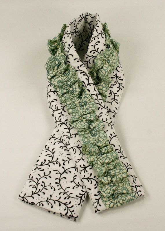 Ruffled Camera Strap Cover - White with Black Swirl and Teal Floral