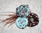 Dainty 1/8 brown elastic headbands- 3 ribbon rolled rosette flowers - robins egg blue, brown & whtie Damask with brown feathers
