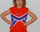 Orange, royal blue and white CUSTOM  CHEERLEADING Uniform for girls, toddlers Fantastic colors, Free machine embroideried name