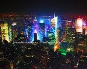 New York City Night Skyline - 5x7 Photograph
