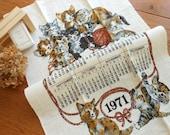 Unused  Kitty Calendar Linen Dishtowel Plus....