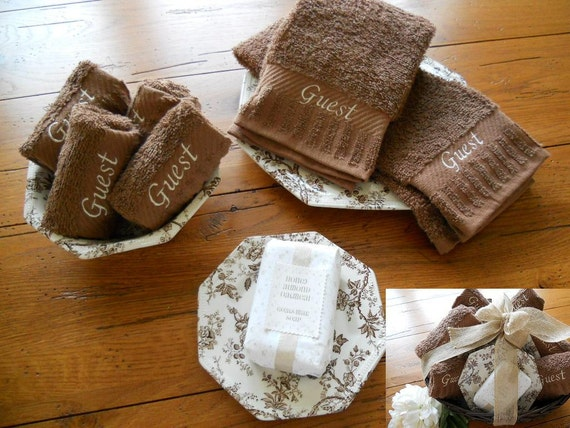 Gorgeous Bathroom Gift Set Embroidered Hand Towels And Washcloths With Vintage Johnson Brothers China And Bonus Handmade Goats Milk Soap