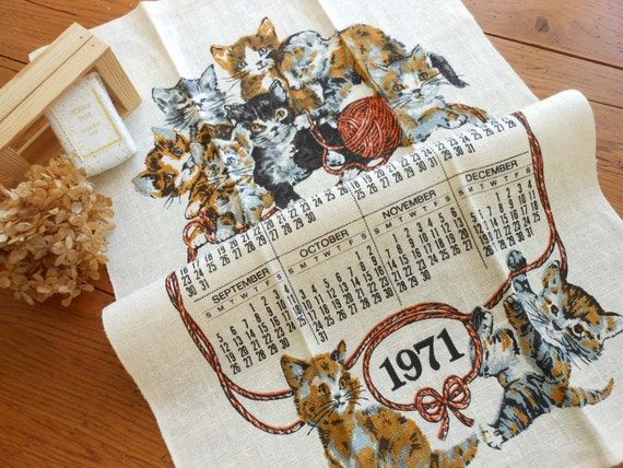 Unused  Kitty Calendar Linen Dishtowel Plus....