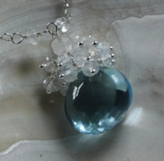 Smooth Blue Topaz and Moonstone Pendant Necklace