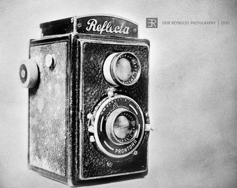 Reflecta Camera - Fine Art Photography Print. Vintage Camera Art Photography Print, Home Decor, Photographer Gift Black Grey Photography ART