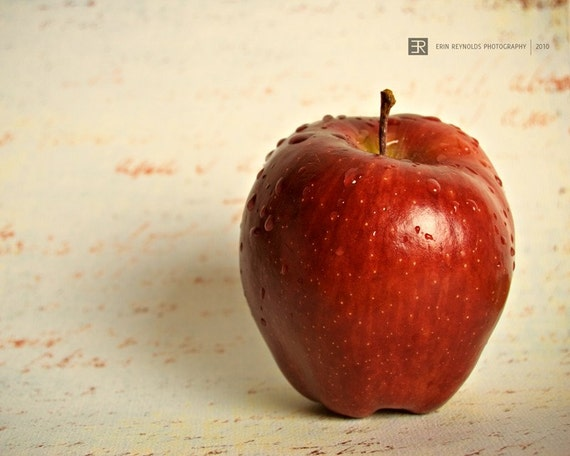 Red Delicious - Fine Art Photography Print, Red Apple Teacher Art, Red Apple Kitchen Decor, Kitchen Art, Red Cream Wall Art, Teacher Gift