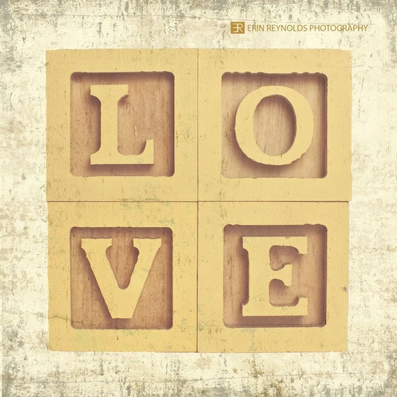 Block LOVE yellow - Fine Art Photography Print, Nursery Print, Kids Room Art, Love Art, Love Wall Art, Nursery Photography Print, Home Decor