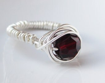 Wire Wrapped Argentium Silver Ring with Garnet Swarovski Crystal Round (January Birthstone)