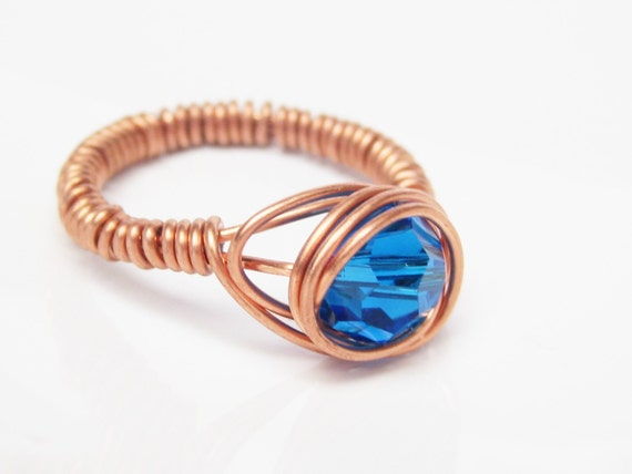 Wire Wrapped Copper Ring with Capri Blue Swarovski Crystal Round