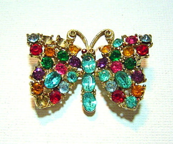 Gorgeous Vintage Multicolor Rhinestone Butterfly For Repair