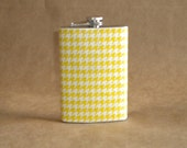 Yellow and White Houndstooth Stainless Steel Girl Gift Flask 8 ounce size